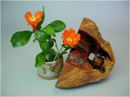 柘榴(ザクロ)の花と漆花器