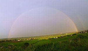 涸沼に架かった虹