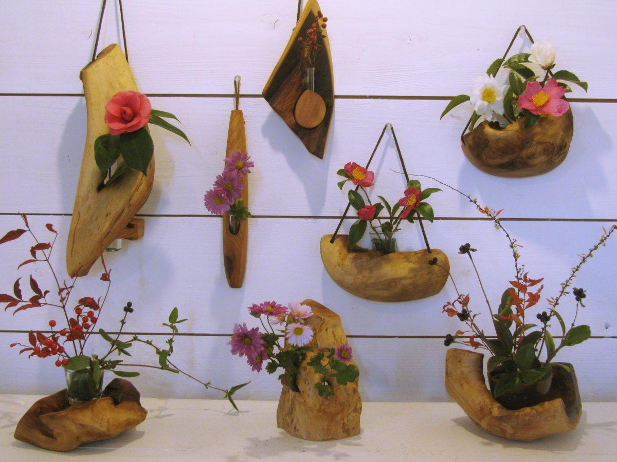 欅の自然木花器
