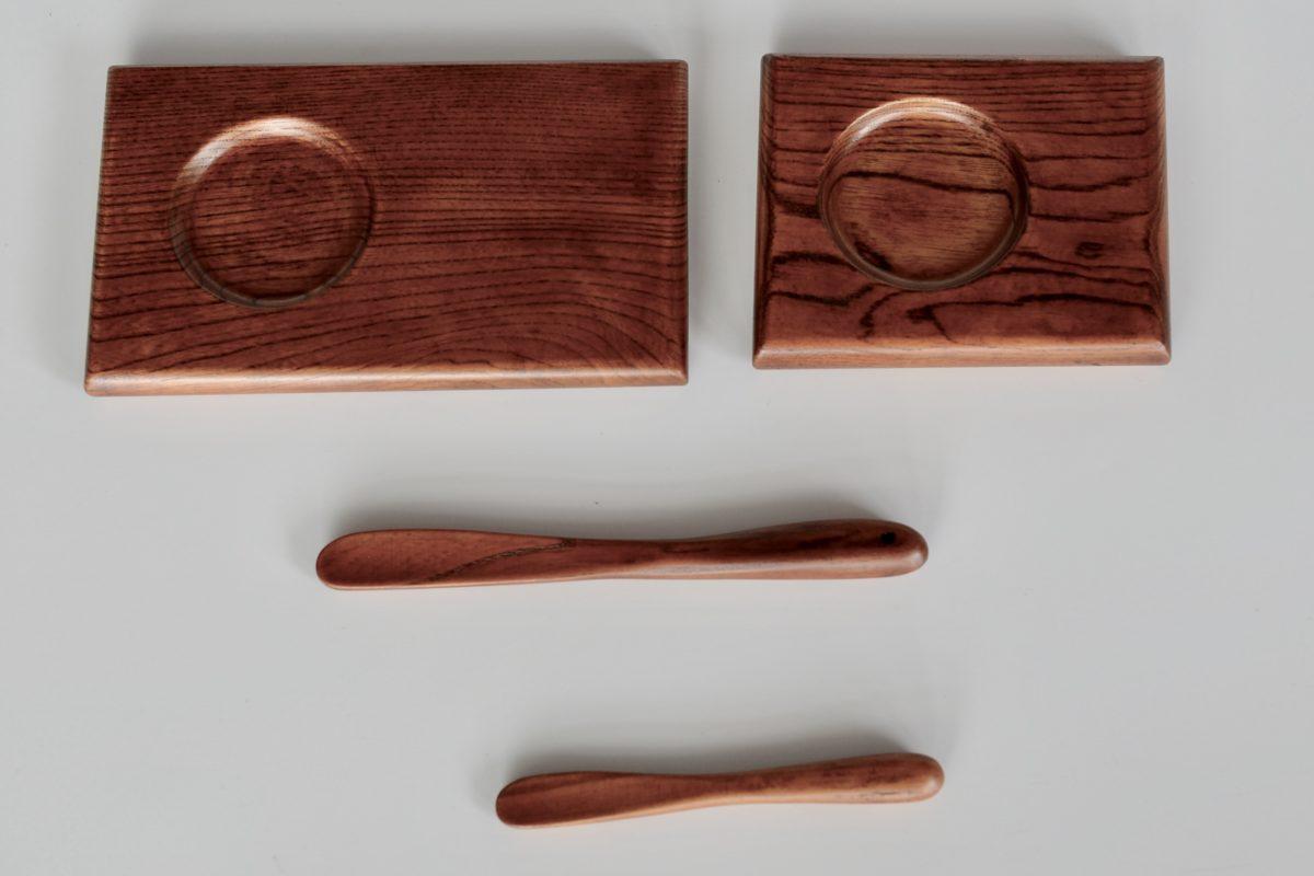 自然木の漆小皿、ジャムへら、スプーン