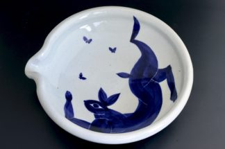 兎の片口浅鉢:五山焼