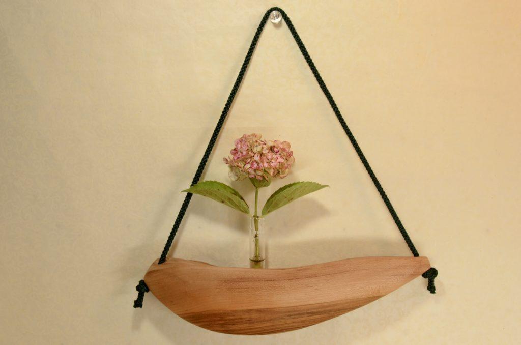 自然木の舟吊型一輪挿し