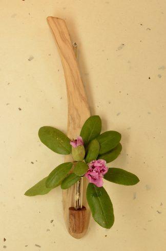 自然木の一輪挿し :壁掛け花